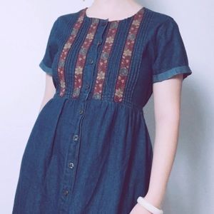 70s 90s Woodstock Inspired Denim Embroidered Dress